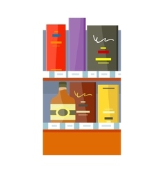 Alcohol in Store Concept In Flat Design vector image