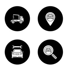 Auto workshop glyph icons set vector