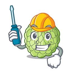 Automotive ripe sugar apple fruit on mascot vector