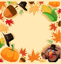 autumn turkey border template vector image