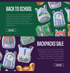 Back to school sale flyers set with backpacks vector