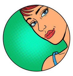 beautiful woman pop art portrait vector image