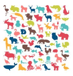 Big set of animals silhouettes in cartoon style vector