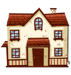 brick house with red roof vector image