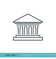 Building museum bank icon logo template design vector