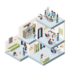 Business office isometric corporate building vector