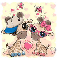 Cartoon giraffes in a cap and glasses on a hearts vector