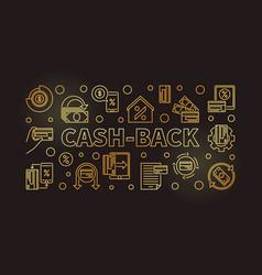 cash-back outline golden vector image