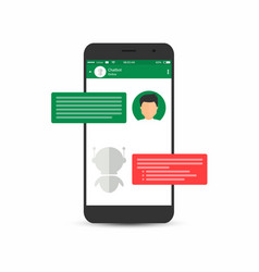 chatbot concept man is asking question to chatbot vector image