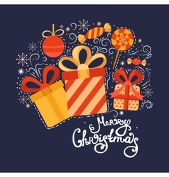 Christmas collection gifts vector image