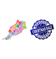 Christmas sale collage of mosaic map of morocco vector