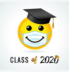 Class off 2020 smile in academic cap medical mask vector