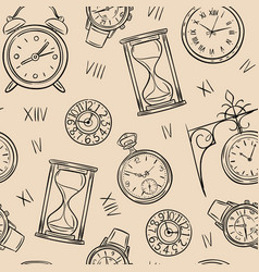 clock seamless pattern sketch time sketch vector image