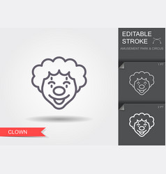 clown face line icon with editable stroke vector image