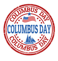 columbus day sign or stamp vector image