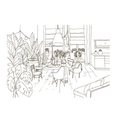 Contour drawing of cozy dining or living room vector