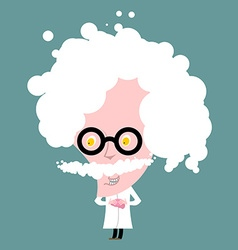 Crazy professor in white coat Nutty Scientist vector image