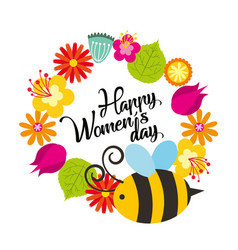 cute flowers and bee natural decoration happy vector image