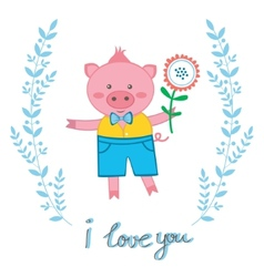 Cute pig in love vector