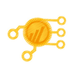 drawing worldcoin web icon vector image