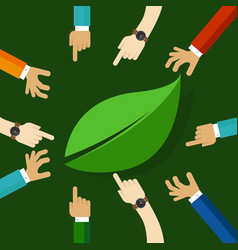 eco friendly life represented with leaf hand vector image