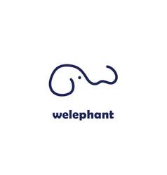 elephant design letter w logo vector image