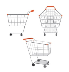 Empty shopping carts set vector image