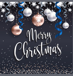 festive black banner merry christmas greetings vector image