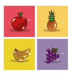 fruits set fresh delicious dieting healthy vector image