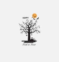Full moon amp big tree halloween abstract vector