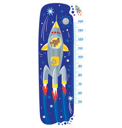 Funny dog in rocket meter wall or height chart vector