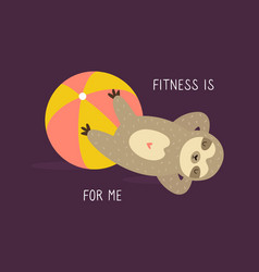 funny sloth doing fitness exercise sport training vector image