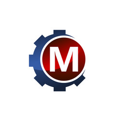 Gear icon letter m vector