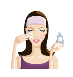 girl washes away makeup from the face illus vector image