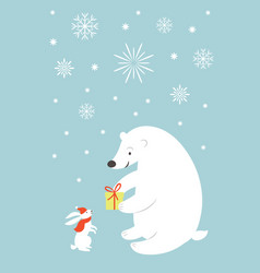 Greeting card cute white bear and little bunny ra vector