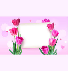 Greeting card with tulips around the sheet of vector