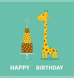 happy birthday greeting card giraffe spot long vector image