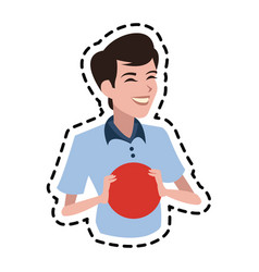 happy boy holding ball icon image vector image
