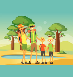 Happy family traveling and sightseeing smiling vector