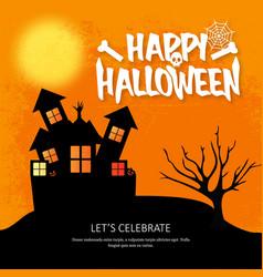 happy halloween invitation with creative design vector image