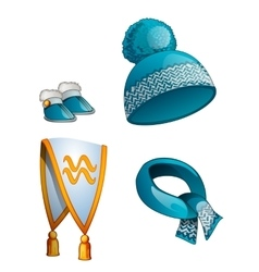Hat scarf boots warm winter clothes in blue vector