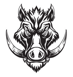 Head mascot boar isolated on white vector