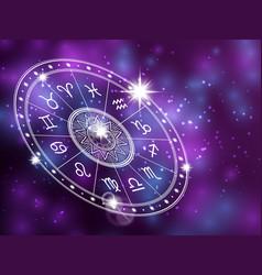 Horoscope circle on shiny background - space vector