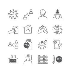 icons set coronavirus covid-19 thin line design vector image