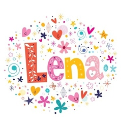Lena female name design decorative lettering type vector image