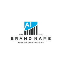 Letter ai chart financial logo design vector