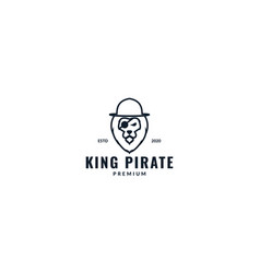 Lion pirates head face with hat logo design vector