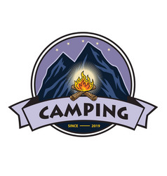 logo mountain adventure campfire vector image