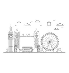 london city thin line art vector image