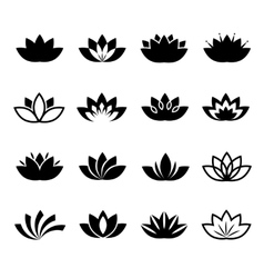 Lotus flower icons set vector